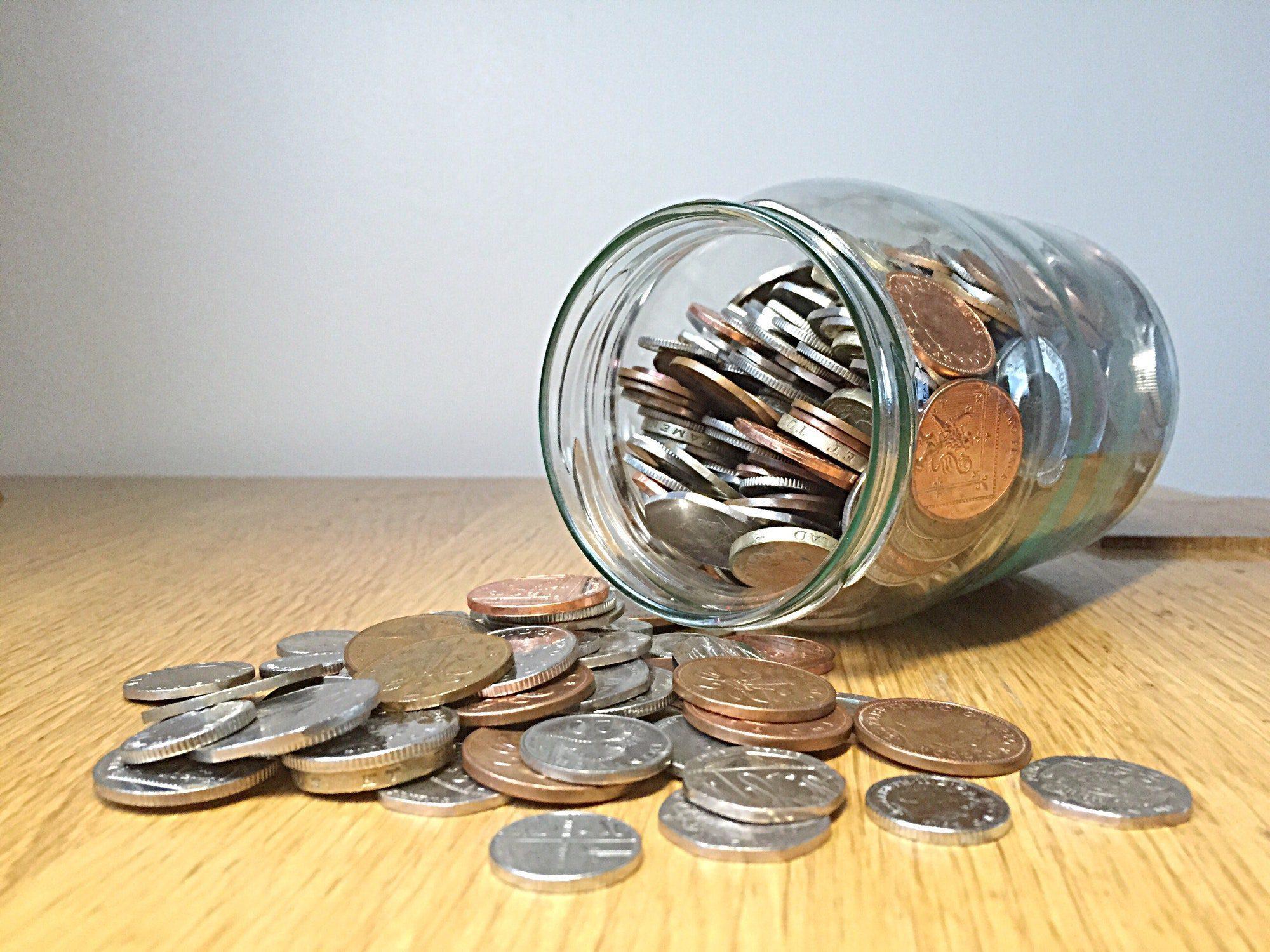 Money in the jar , coins, savings